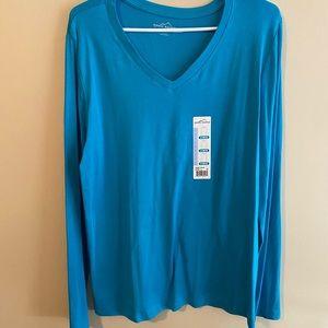 ***3 FOR $10 PROMO*** Blue V-Neck Long Sleeved Top